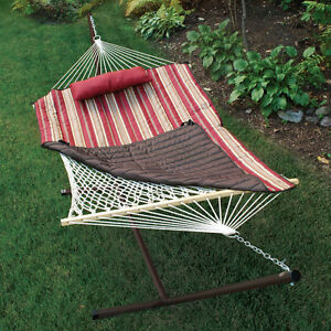 PORTABLE Outdoor Patio HAMMOCK STAND Spreader QUILT & PILLOW Camping Swing Bed