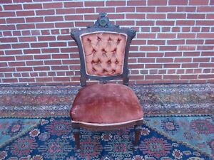 Victorian Rosewood Inlaid Chair w Bronze? Plaque Pottier and Stymus Herter Era