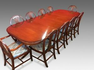9ft Harrods Designer George III style mahogany dining set Pro French polished