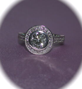 HALO STYLE  3.26 Cts.T.W. DIAMOND 14K  WHITE GOLD DESIGNER WEDDING RING - SZ.6