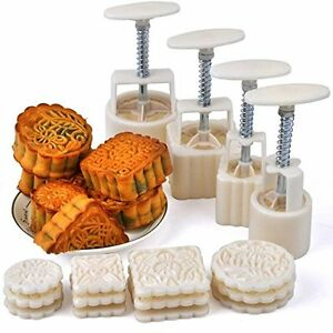 Mid-Autumn Festival Cookie Cutters Hand-Pressure Moon Cake Mould With 12 Pcs For