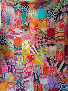 1Indian Kantha Quilt Patchwork Blanket Cotton Quilts Twin Cotton Throw Bedspread