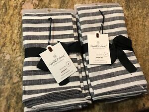 Hearth And Hand Magnolia Black And Ivory Cotton Napkins Farmhouse Set Of 8