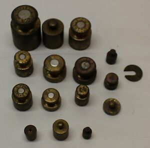 15 PIECE VINTAGE BRASS OHAUS CALIBRATION WEIGHTS