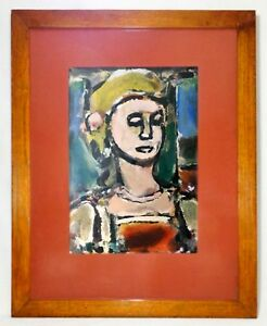 GEORGE ROUAULT (FRANCE 1871-1958) SIGNED LG FAUVIST COLOR LITHO OF FEMALE FIGURE