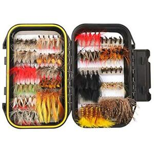 100PCS Dry Flies Fly Fishing Kit Assorted Trout Lures With Waterproof Box Sports