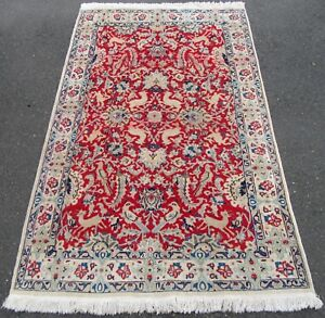 ANTIQUE PERSIAN ISFAHAN RUG. WITH SILK HIGHLIGHTSSTUNNING DESIGN