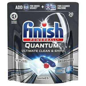 Finish Quantum Powerball, with Baking Soda Dishwash Detergent 20 ea (Pack of 3)