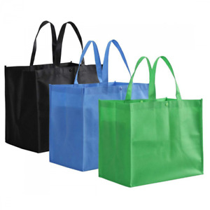 Handle Grocery Tote Shopping Bag Reusable Polypropelyne Large 13In 3Colors 12Pck