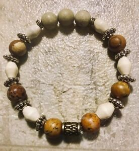 Women Men Healing Balance Beaded Bracelet Picture Jasper Yoga Reiki Prayer Stone