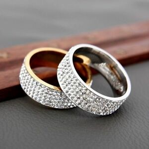 Ring Wedding Clear For Women Fashion Stainless Steel Female Jewelry Classic Band