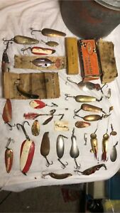 Huge Lot Of Antique Fishing Items Spoons Spinners Boxes