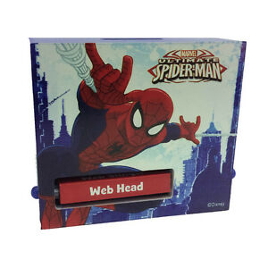 SPIDERMAN SPIDERMAN piggy bank in wood printed 4 11 16x2x4 5 16in child $14.14