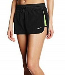 NIKE DRY RUN FAST WOMEN RUNNING DRI FIT SHORTS - BLACK VOLT 719761-011 - XL