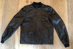 Lanvin Men's Brown 100% Leather Jacket  Euro 48 US 38 SmallMedium