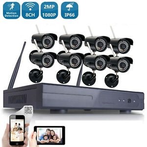 Wireless WIFI 1080P Security Camera 8CH System HDMI Home Outdoor IP Night Vision