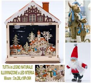 Landscape Nativity Christmas IN Legno Wood Natural With Lights LED Inner Cm.36H $71.83