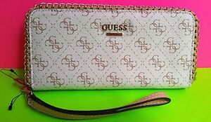 New GUESS Women Wallet White Purse Faux Leather G Logo Chain Decor