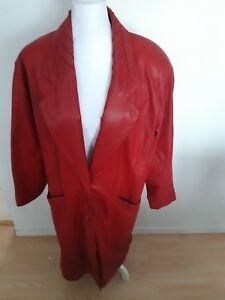 Charles Klein Red 100% Leather Jacket Coat Long Trench Size 1X Button Winter