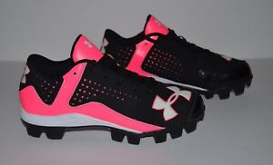Under Armour Leadoff Low Molded Cleats - Youth Size 5 - Black Pink White