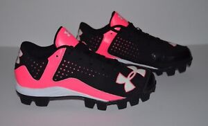 Under Armour Leadoff Low Molded Cleats - Youth Size 1.5 - Black Pink White