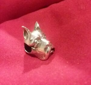 Authentic Chamilia Rare Retired Sterling Silver Dog Head Bead Charm no bracelet