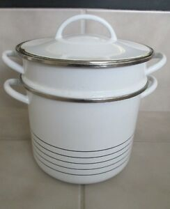 Vtg 3 Piece Copco Pot White Enamel Pasta Multi Cooker Sam Lebowitz Design Spain