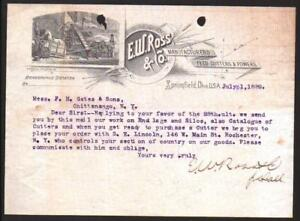 1889 Springfield Ohio - E W Ross & Co - Feed Cutters & Powers Letter Head Rare