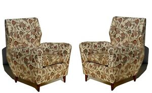 Mid-Century Italian Design Pair of Armchairs by Melchiorre Bega 1950s