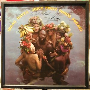 ISAAC HAYES IN PERSON AUTOGRAPHED FRAMED ALBUM JUICY FRUIT DISCO FREAK