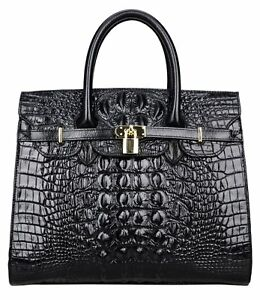 QIDELL Women's Handbags Crocodile Top Handle Designer Padlock - BLACK Crocodile