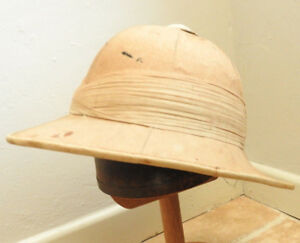 Original Military British WW1 Pith Helmet Sun Tropical Hat 14 Fold Cork (5221)