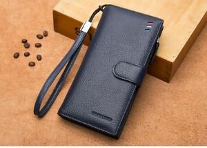 Fashion Luxury Men Wallets Genuine Leather Long Business Male Purse Card Holder