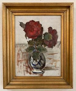 """Clarence Hinkle (1880-1960) """"Red Rose"""" Oil on Masonite Painting 13 12""""x10 12"""""""