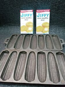 Lot of 2 Vintage Cast Iron 7 Ear Corn Bread Muffin Pan Mold