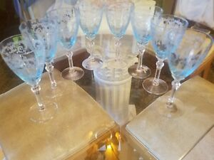 40 Pcs Azure Blue Fostoria 5098 Versailles Water Wine Cocktail Champagne Sherbet