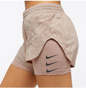 NIKE ELEVATE 2IN1 WOMEN RUNNING DIVISION SHORTS - DIFFUSED TAUPE AJ4197-229 XS L