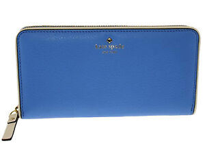 Kate Spade NY new York Women's Leather Wallet sky blue white piping zip coin