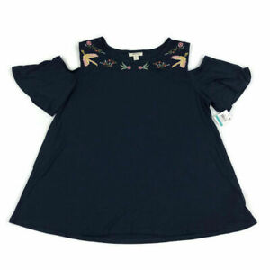 Style & Co Womens Top Cold Shoulder Embroidered Birds Floral Blue Plus Sizes