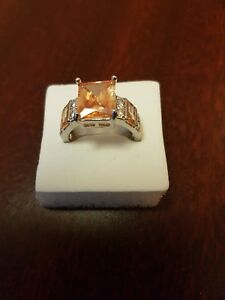 STERLING MORGANITE AND WHITE TOPAZ RINGS .M O Q S. FULLY STAMPED.UK