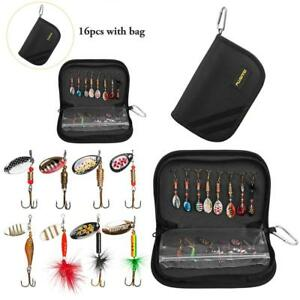 Fishing Lures for Bass 16pcs Spinner Lures with Portable Carry Bag BassTrout
