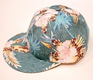 BWGH Green FLORAL Caribbean TROPICAL Print SIX Panel CAP Hat MADE IN FRANCE OS