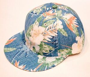 BWGH Blue FLORAL Caribbean TROPICAL Print SIX Panel CAP Hat MADE IN FRANCE OS