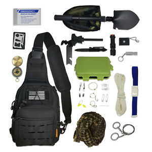 Sling Bag Bug Out Kit - Survival Pack Filled with Emergency Gear