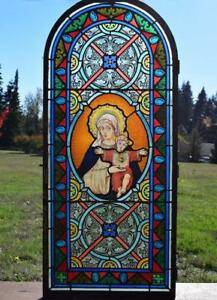 *Antique French Stained Glass Panel wLeaded Glass