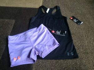 Girls Under armour tank shorts fitted outfit size YMD  (NWT)