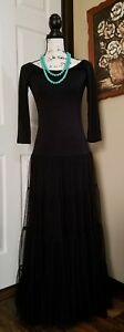 Vintage Collection Design Black Knit Maxi Long Dress Women S Small Western BOHO