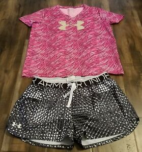 GIRL'S UNDER ARMOUR SHORTS AND SHIRT SIZE YOUTH XL KIDS PINK BLACK AND WHITE