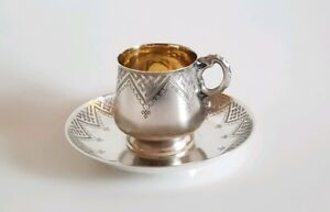 19C Russian Silver Pan Slavic Cup & Saucer Snake Handle
