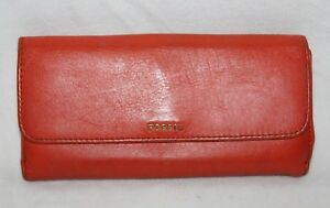 Fossil Wallet Check Book Ladies Leather Orange Luxury Soft 8